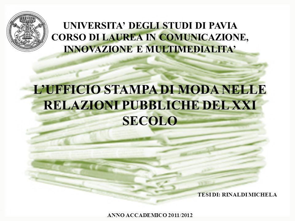 L'UFFICIO STAMPA DI MODA NELLE RELAZIONI PUBBLICHE DEL XXI SECOLO