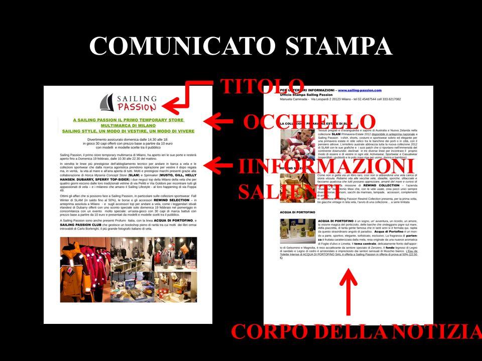 COMUNICATO STAMPA TITOLO OCCHIELLO IINFORMAZIONI SALIENTI