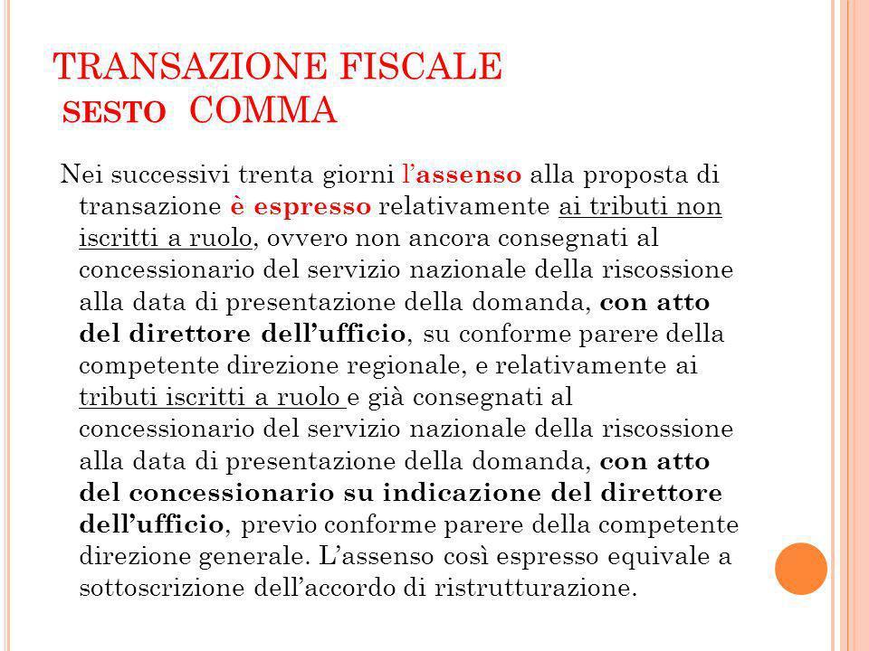 TRANSAZIONE FISCALE sesto COMMA
