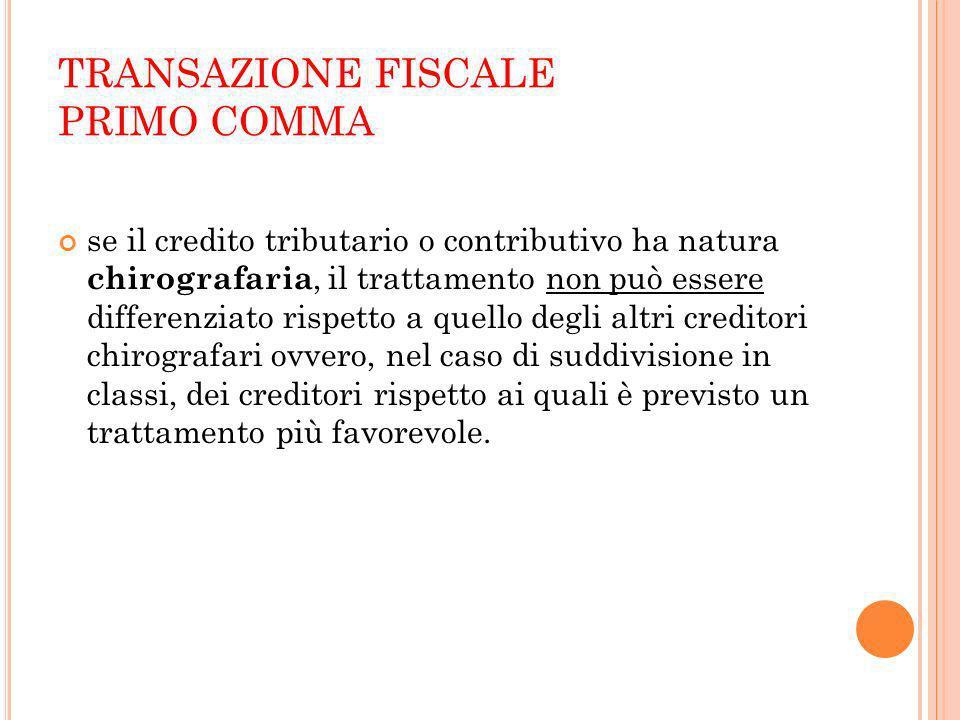 TRANSAZIONE FISCALE PRIMO COMMA