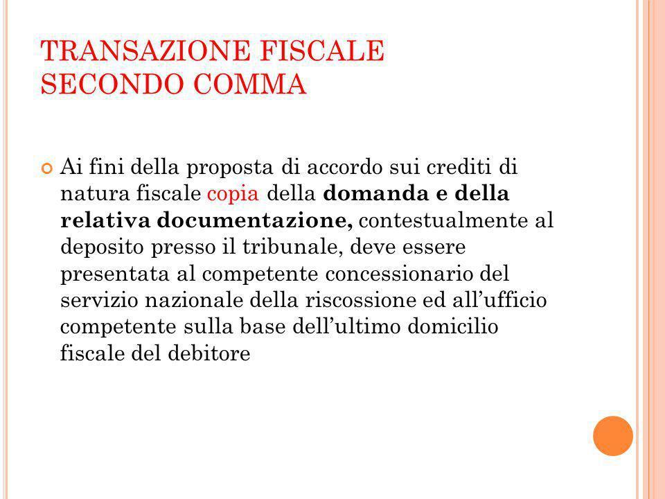 TRANSAZIONE FISCALE SECONDO COMMA