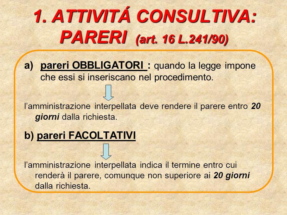 1. ATTIVITÁ CONSULTIVA: PARERI (art. 16 L.241/90)