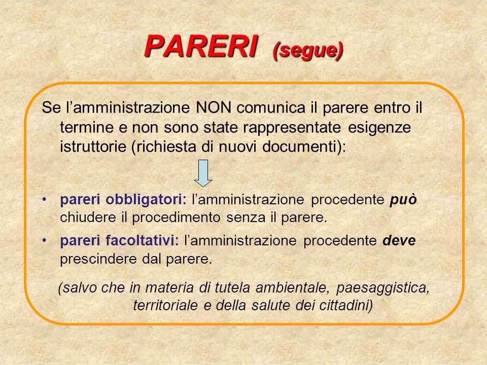 PARERI (segue)