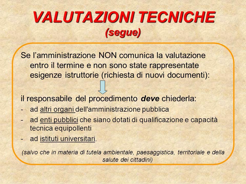 VALUTAZIONI TECNICHE (segue)
