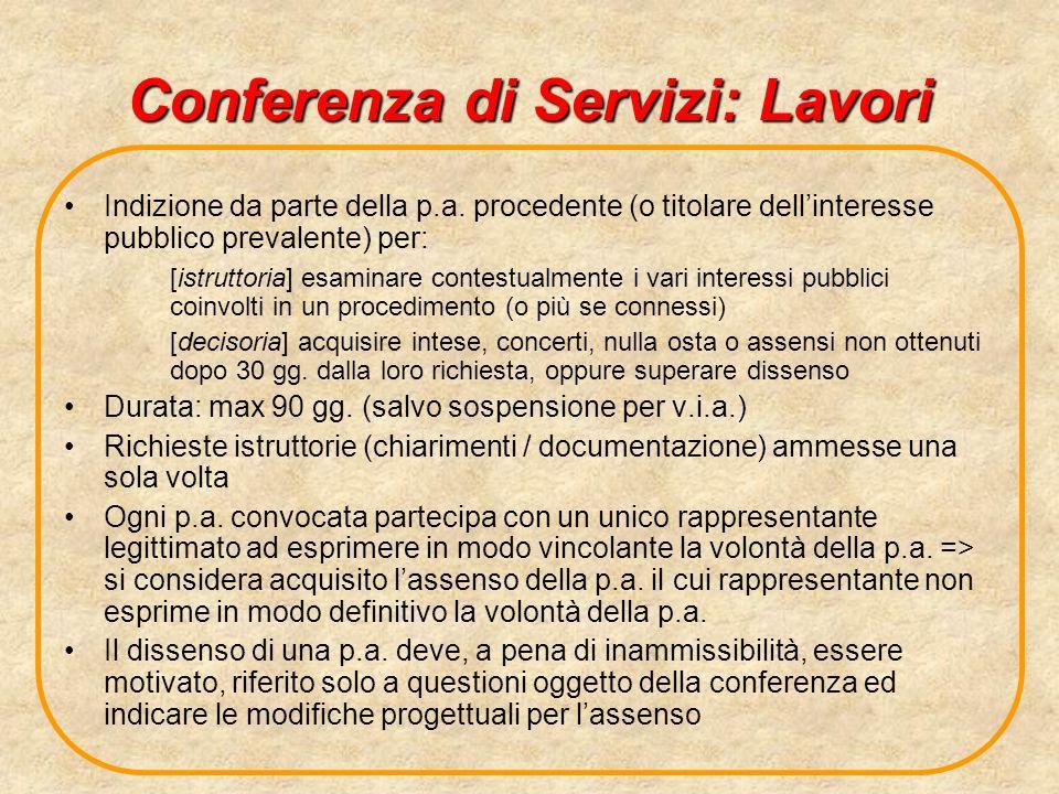 Conferenza di Servizi: Lavori
