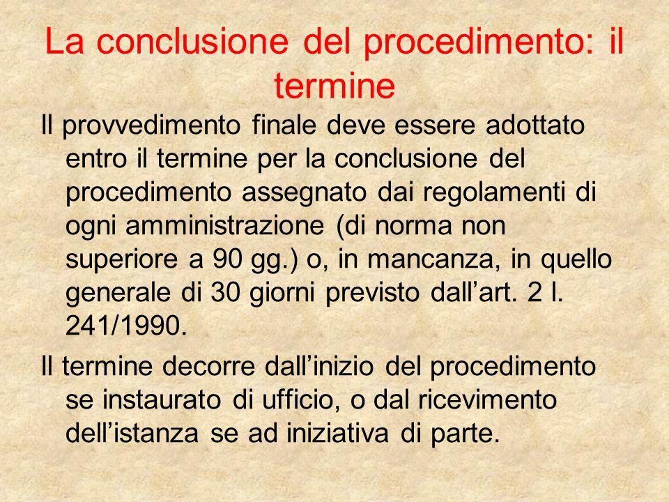 La conclusione del procedimento: il termine