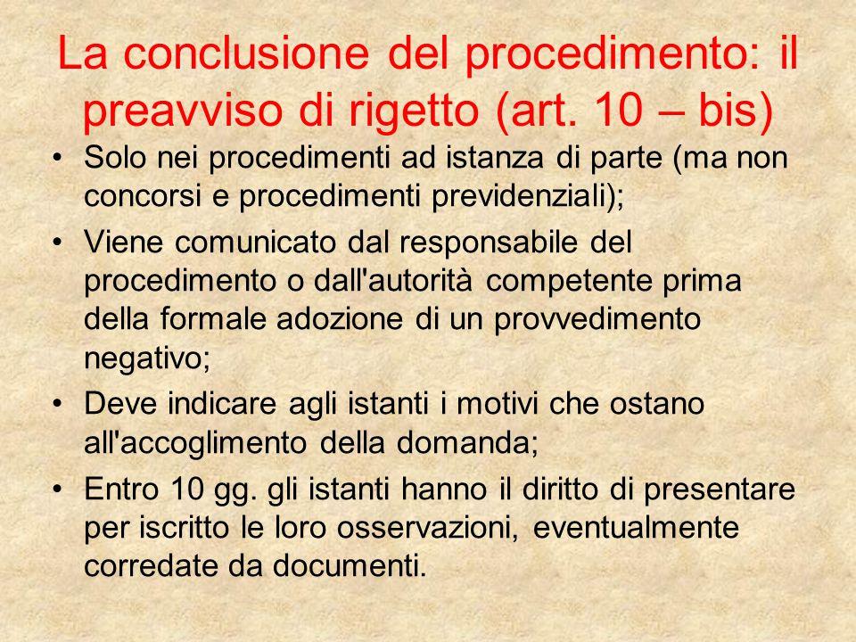 La conclusione del procedimento: il preavviso di rigetto (art
