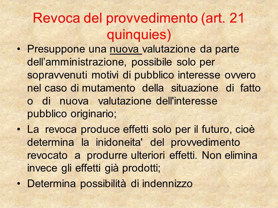 Revoca del provvedimento (art. 21 quinquies)