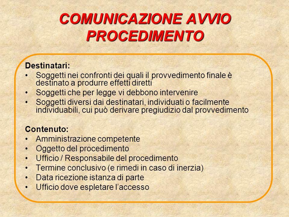 COMUNICAZIONE AVVIO PROCEDIMENTO