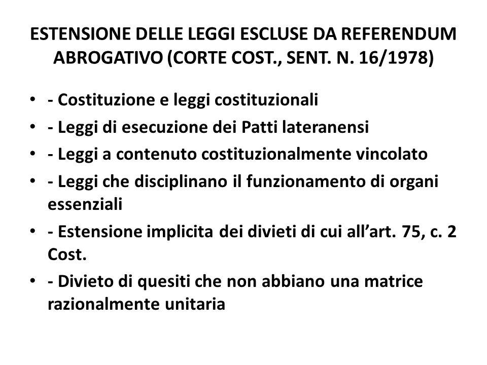 ESTENSIONE DELLE LEGGI ESCLUSE DA REFERENDUM ABROGATIVO (CORTE COST