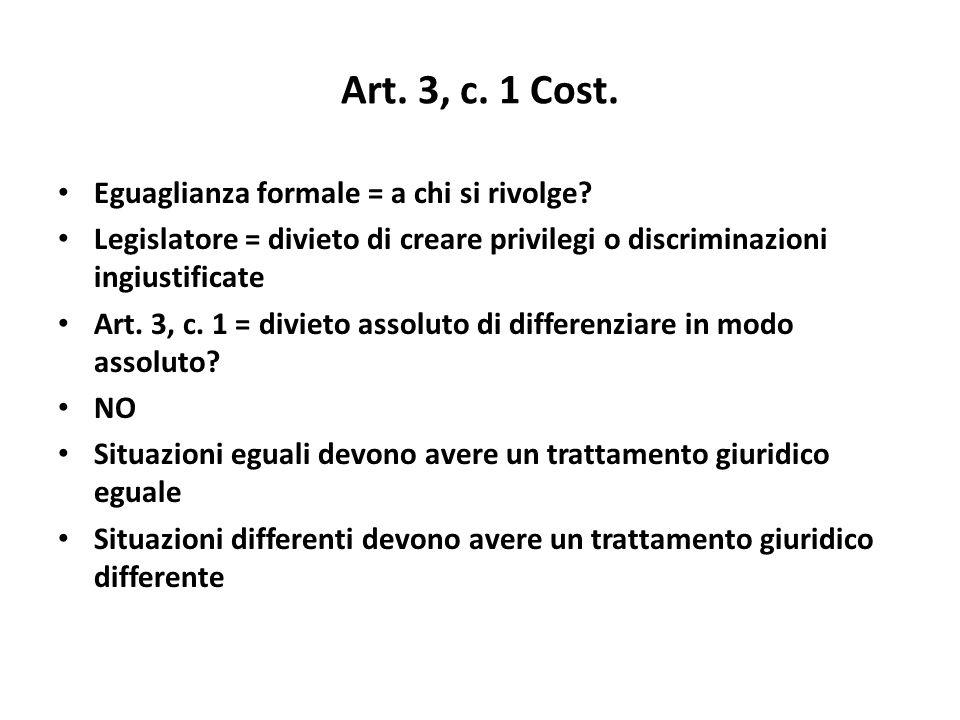 Art. 3, c. 1 Cost. Eguaglianza formale = a chi si rivolge