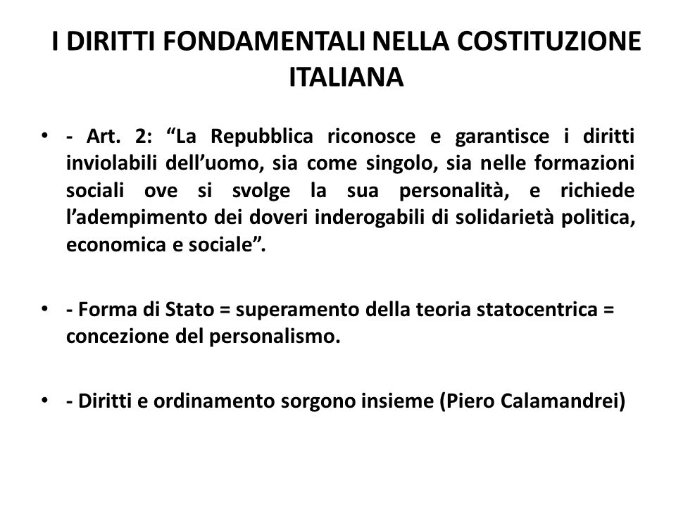 I DIRITTI FONDAMENTALI NELLA COSTITUZIONE ITALIANA