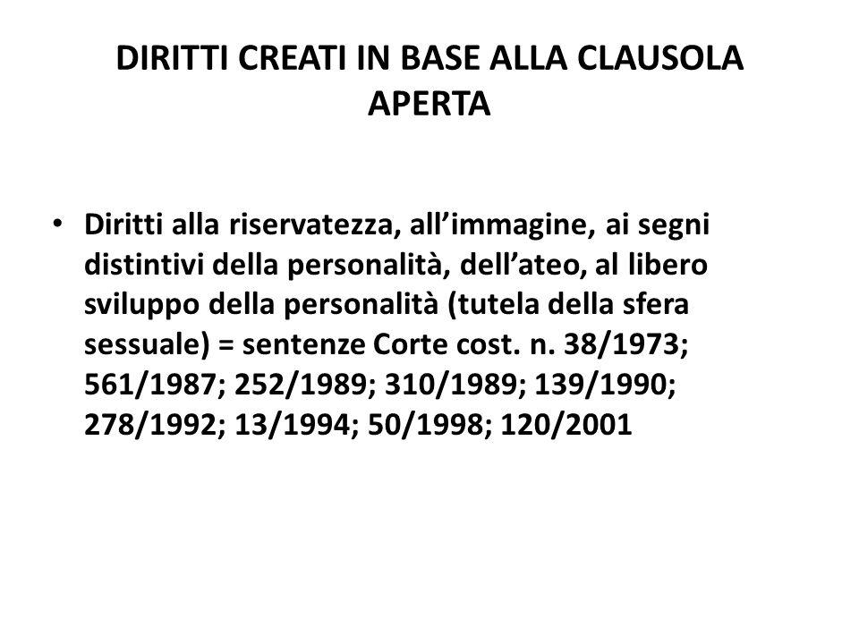 DIRITTI CREATI IN BASE ALLA CLAUSOLA APERTA