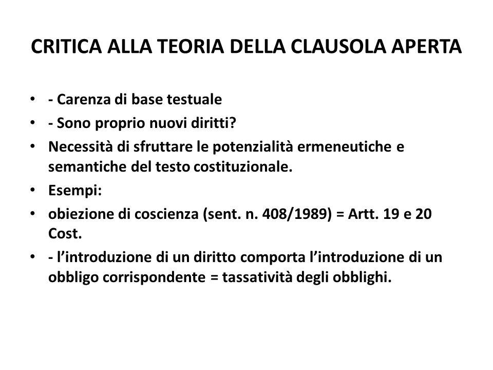 CRITICA ALLA TEORIA DELLA CLAUSOLA APERTA