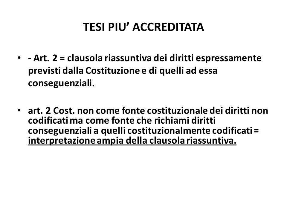 TESI PIU' ACCREDITATA- Art. 2 = clausola riassuntiva dei diritti espressamente previsti dalla Costituzione e di quelli ad essa conseguenziali.