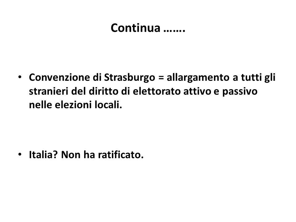 Continua ……. Convenzione di Strasburgo = allargamento a tutti gli stranieri del diritto di elettorato attivo e passivo nelle elezioni locali.