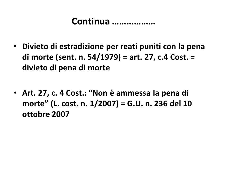 Continua ………………Divieto di estradizione per reati puniti con la pena di morte (sent. n. 54/1979) = art. 27, c.4 Cost. = divieto di pena di morte.