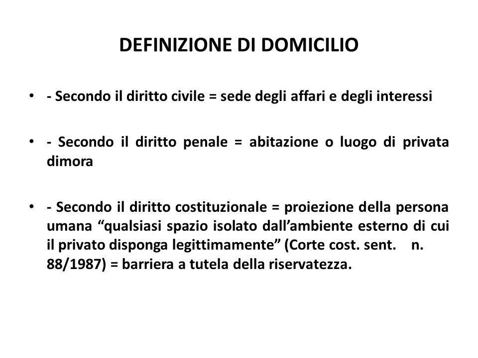 DEFINIZIONE DI DOMICILIO