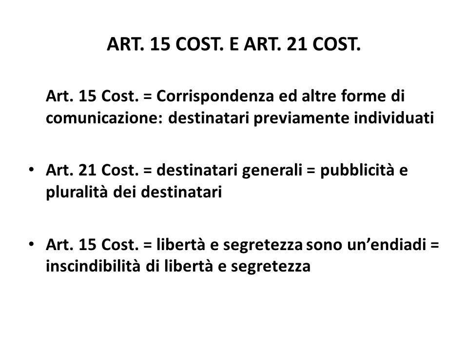 ART. 15 COST. E ART. 21 COST.Art. 15 Cost. = Corrispondenza ed altre forme di comunicazione: destinatari previamente individuati.