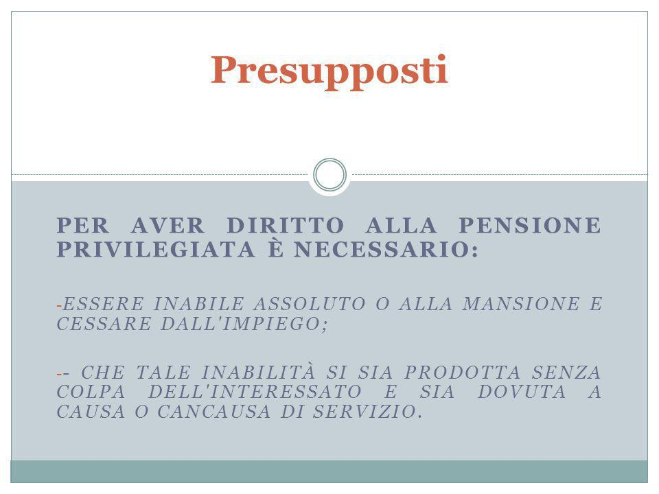 Presupposti Per aver diritto alla pensione privilegiata è necessario: