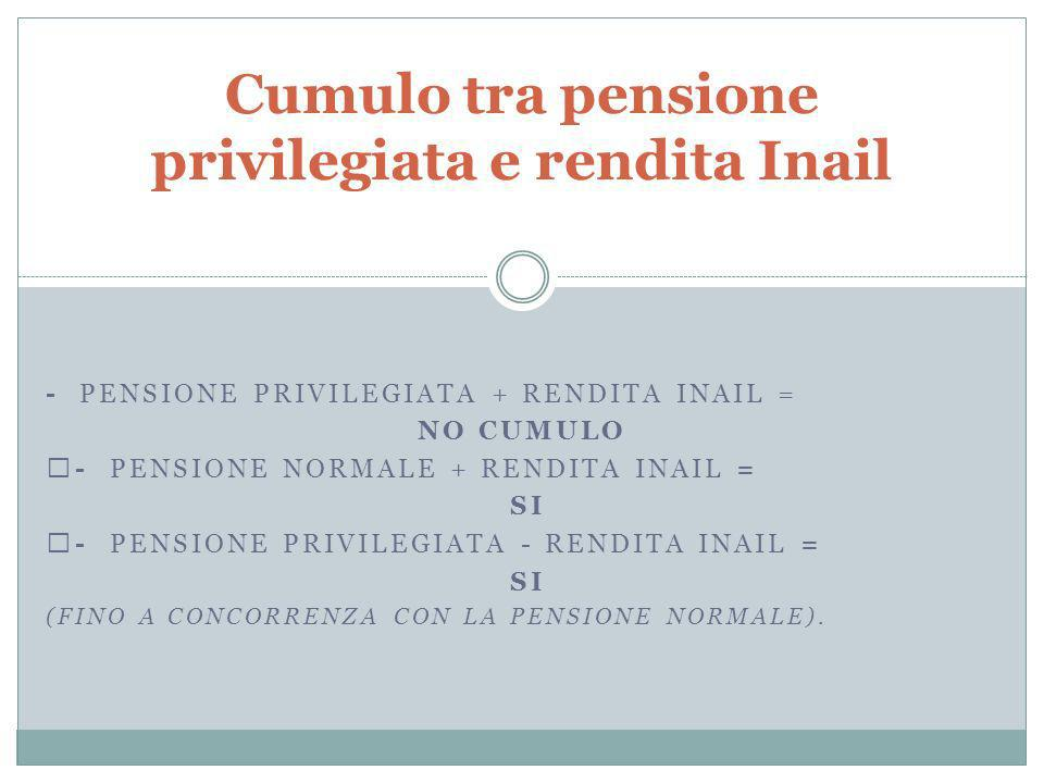 Cumulo tra pensione privilegiata e rendita Inail