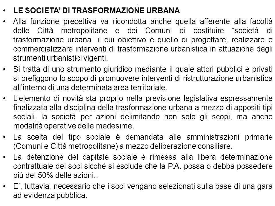 LE SOCIETA' DI TRASFORMAZIONE URBANA