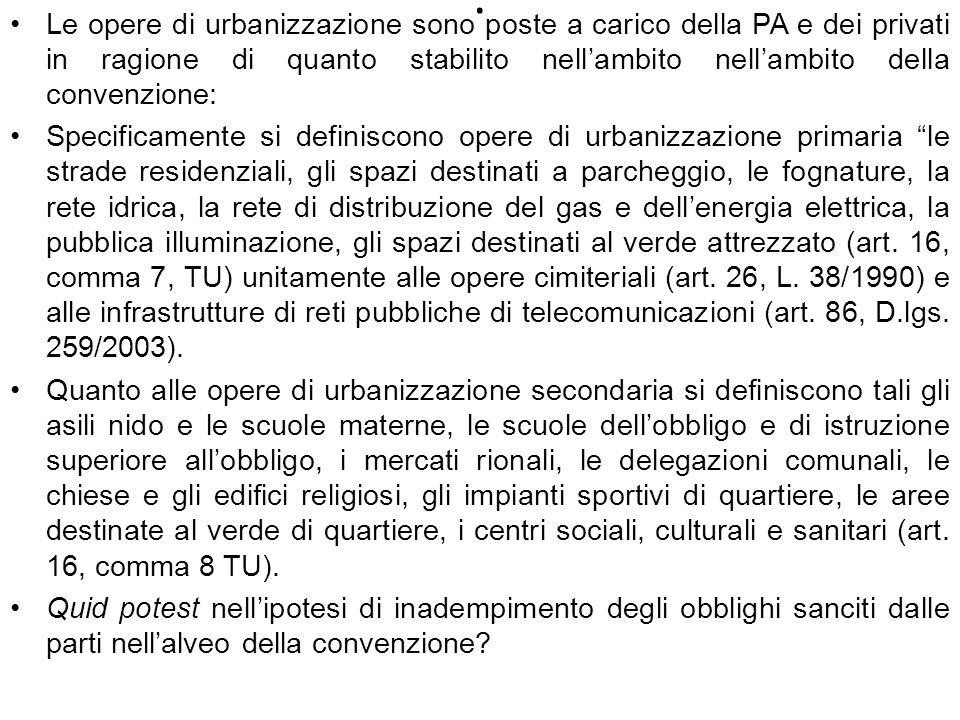 Le opere di urbanizzazione sono poste a carico della PA e dei privati in ragione di quanto stabilito nell'ambito nell'ambito della convenzione: