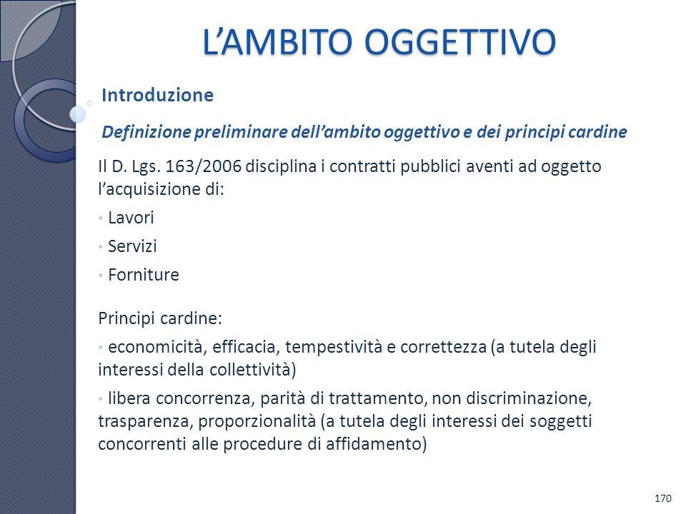 L'AMBITO OGGETTIVO Introduzione