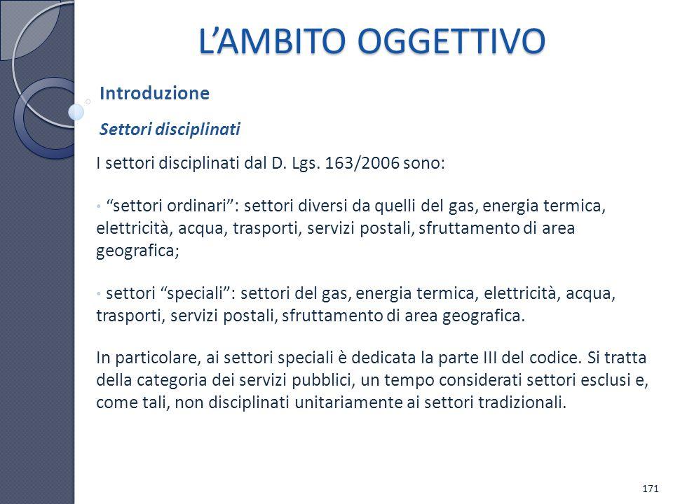 L'AMBITO OGGETTIVO Introduzione Settori disciplinati