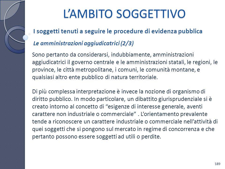 L'AMBITO SOGGETTIVO I soggetti tenuti a seguire le procedure di evidenza pubblica. Le amministrazioni aggiudicatrici (2/3)