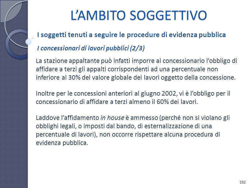 L'AMBITO SOGGETTIVO I soggetti tenuti a seguire le procedure di evidenza pubblica. I concessionari di lavori pubblici (2/3)