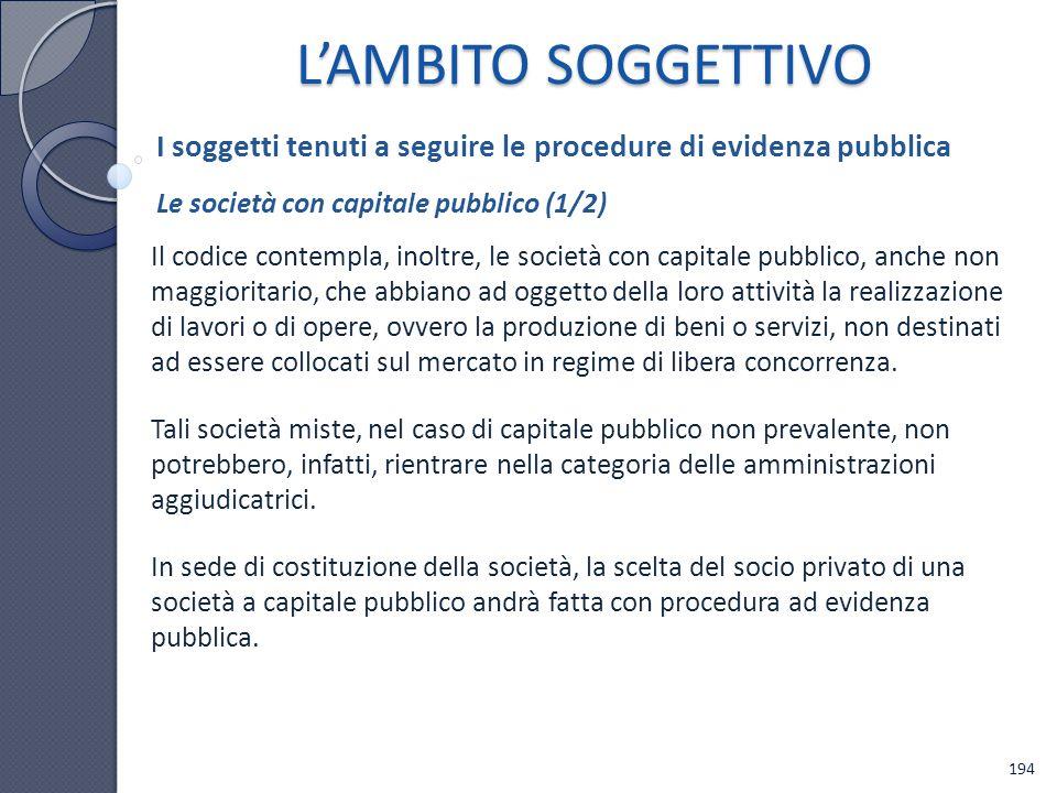 L'AMBITO SOGGETTIVO I soggetti tenuti a seguire le procedure di evidenza pubblica. Le società con capitale pubblico (1/2)