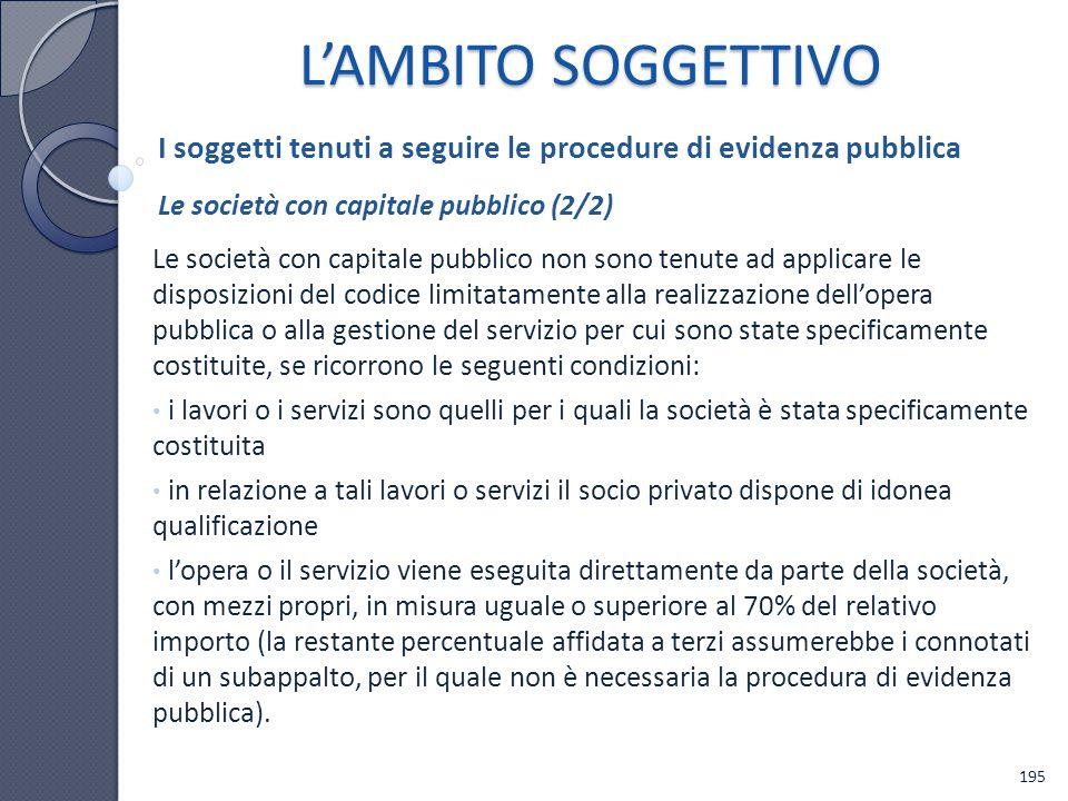 L'AMBITO SOGGETTIVO I soggetti tenuti a seguire le procedure di evidenza pubblica. Le società con capitale pubblico (2/2)