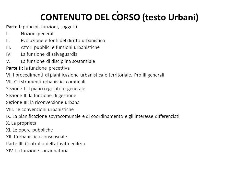 CONTENUTO DEL CORSO (testo Urbani)