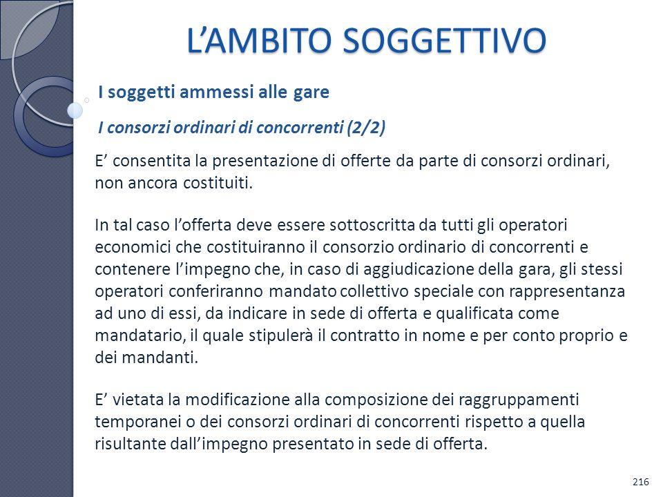 L'AMBITO SOGGETTIVO I soggetti ammessi alle gare