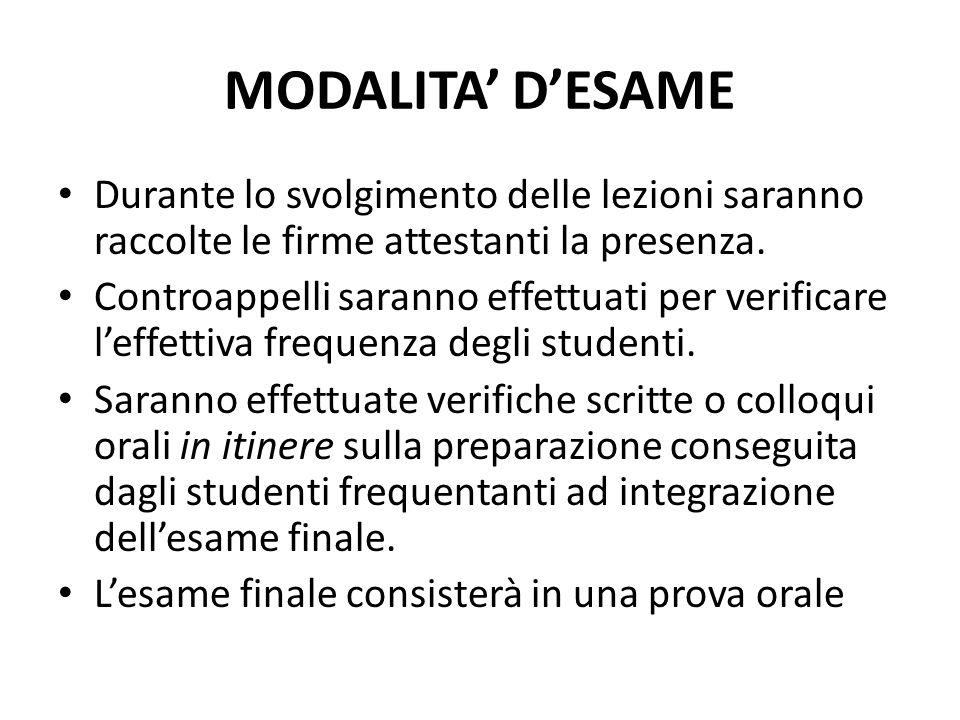 MODALITA' D'ESAME Durante lo svolgimento delle lezioni saranno raccolte le firme attestanti la presenza.