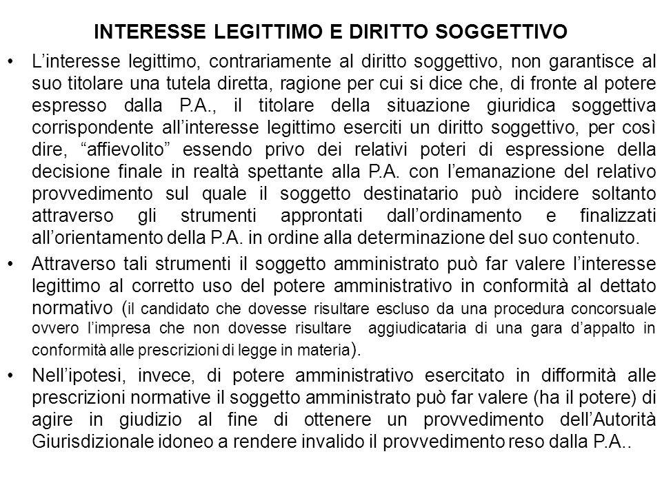 INTERESSE LEGITTIMO E DIRITTO SOGGETTIVO