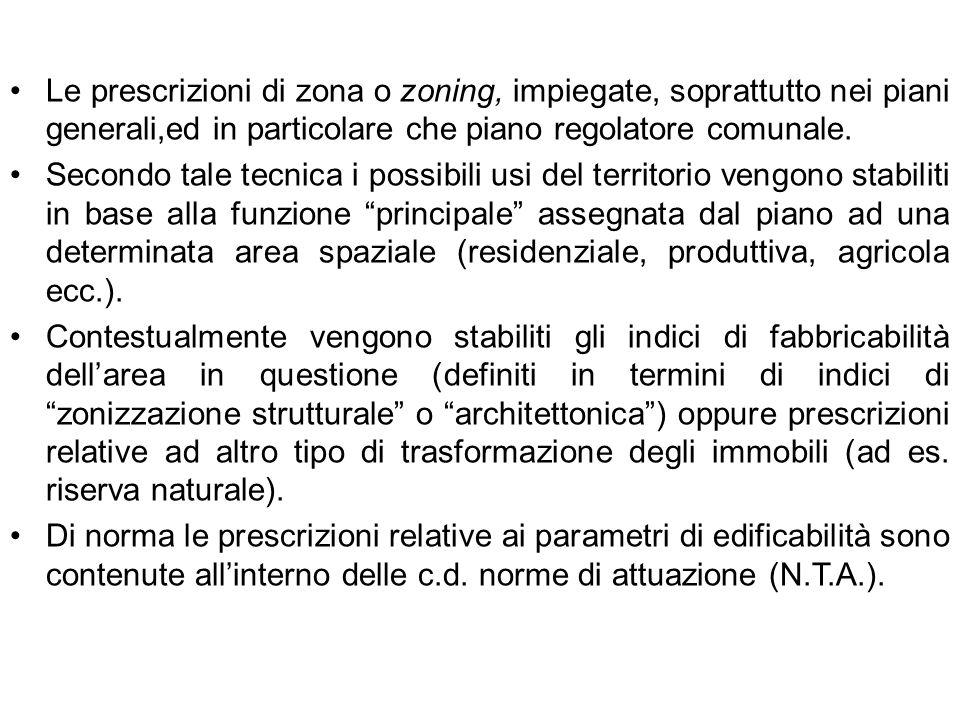 Le prescrizioni di zona o zoning, impiegate, soprattutto nei piani generali,ed in particolare che piano regolatore comunale.