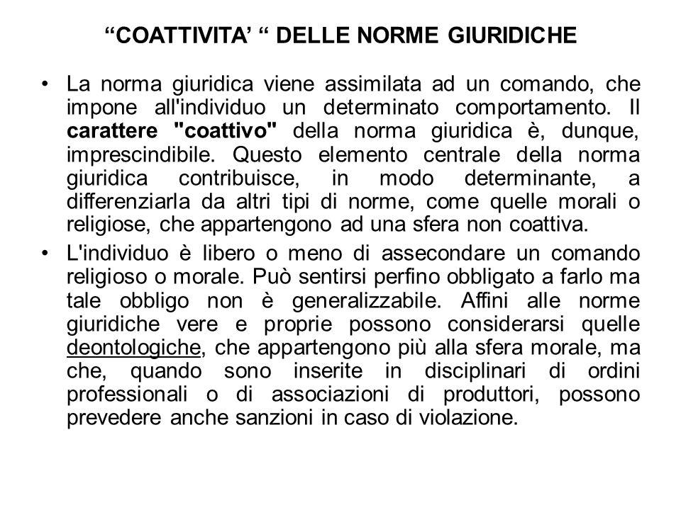 COATTIVITA' DELLE NORME GIURIDICHE