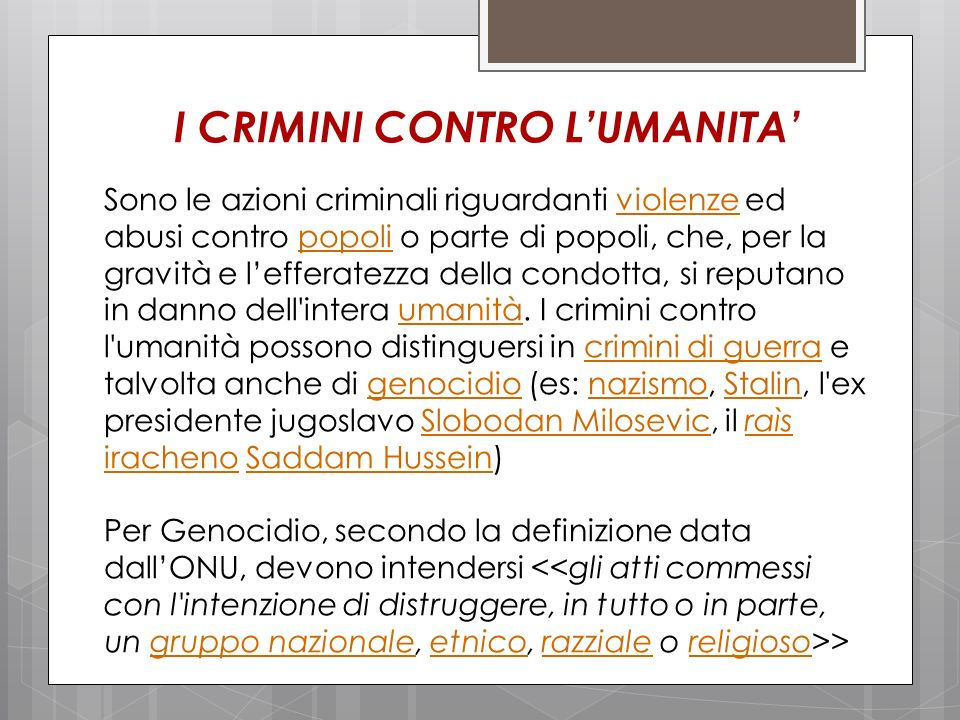 I CRIMINI CONTRO L'UMANITA'