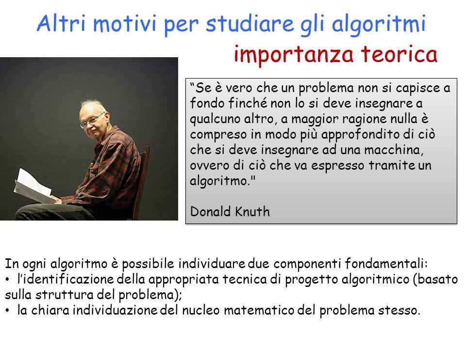 importanza teorica Altri motivi per studiare gli algoritmi