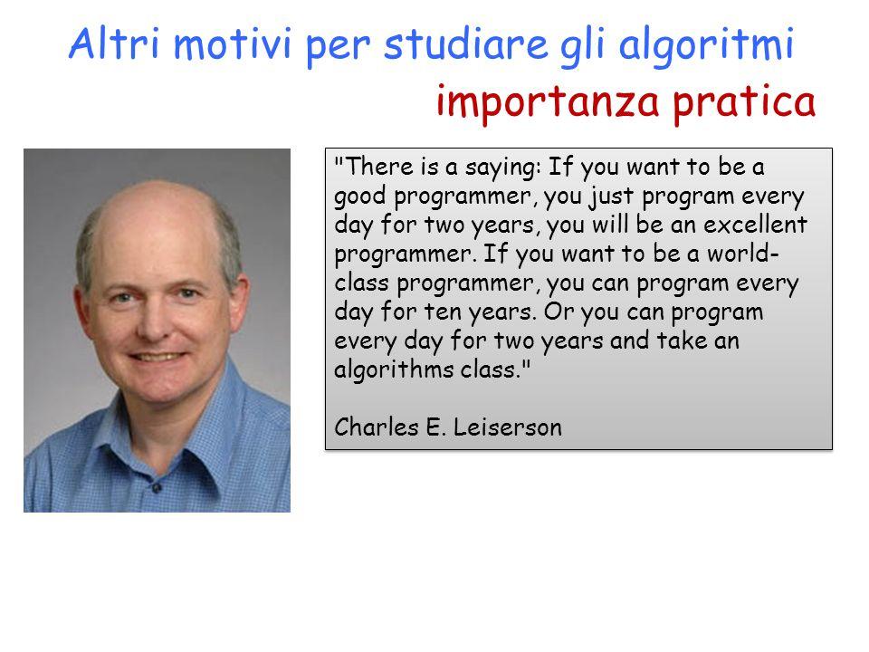 importanza pratica Altri motivi per studiare gli algoritmi