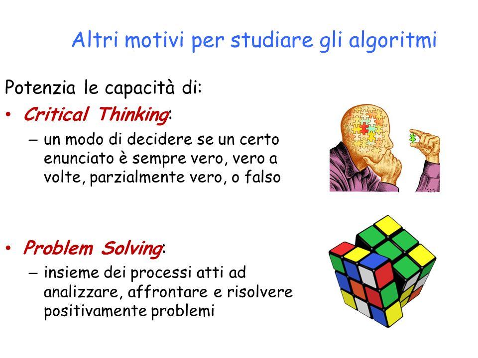 Altri motivi per studiare gli algoritmi