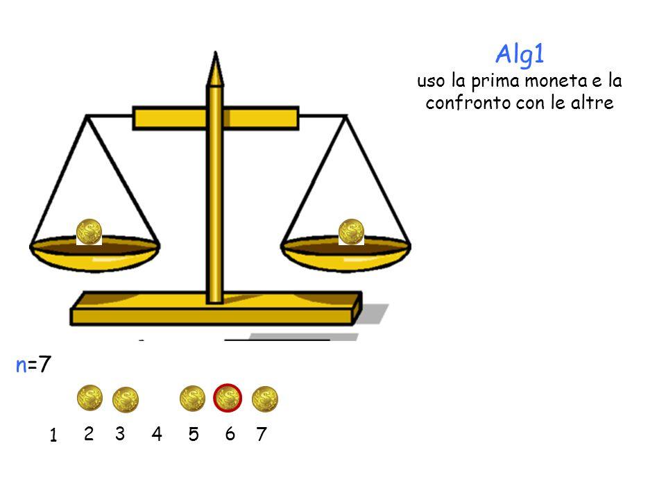 Alg1 uso la prima moneta e la confronto con le altre