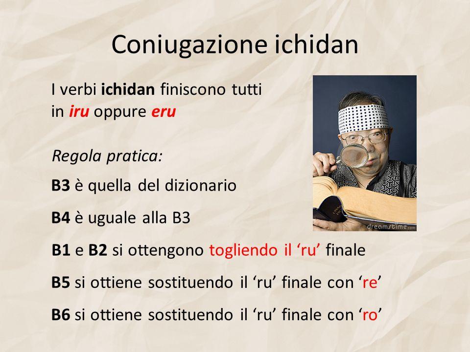Coniugazione ichidan I verbi ichidan finiscono tutti in iru oppure eru