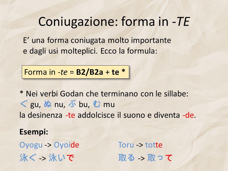 Coniugazione: forma in -TE