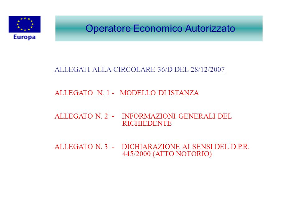 Operatore Economico Autorizzato