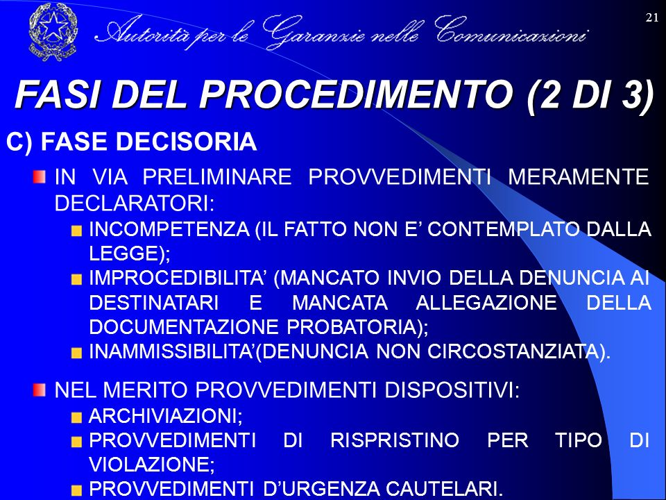 FASI DEL PROCEDIMENTO (2 DI 3)
