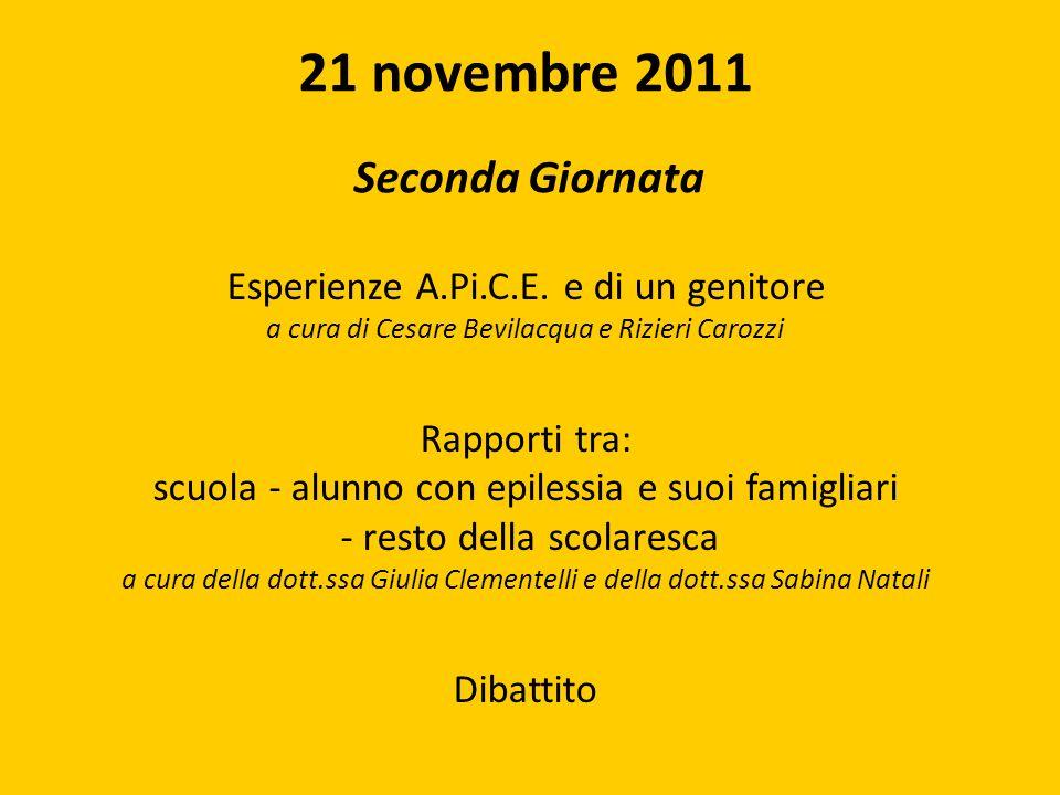 21 novembre 2011 Esperienze A.Pi.C.E. e di un genitore Rapporti tra: