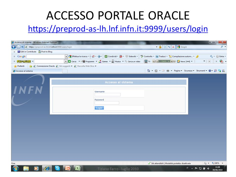 ACCESSO PORTALE ORACLE https://preprod-as-lh. lnf. infn